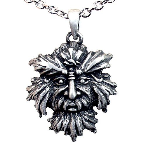Man Pendant Silver Green (OhDeal4U Greenman Pagan Celtic Green man silver pewter pendant w Stainless steel chain necklace (#01))
