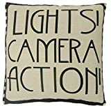 B Lyster shop LIGHTS CAMERA ACTION FILM REEL MOVIE BLACK #1481W Cotton & Polyester Soft Zippered Cushion Throw Case Pillow Case Cover