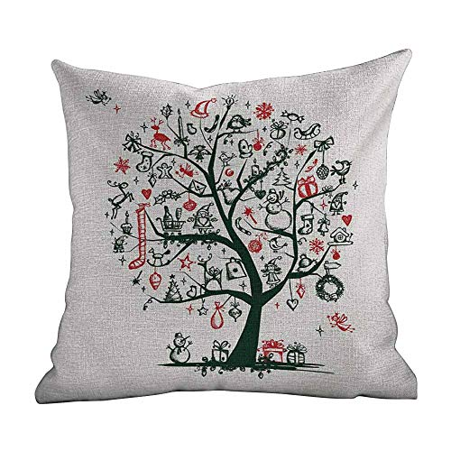 Matt Flowe Super Soft and Luxurious Pillowcase Christmas,Large Tree with New Year Ornaments Presents and Candles Angels Holiday Theme,Green Vermilion,Home Decor Sofa Cushion Case - Angel Ornament 16 Inch Gold