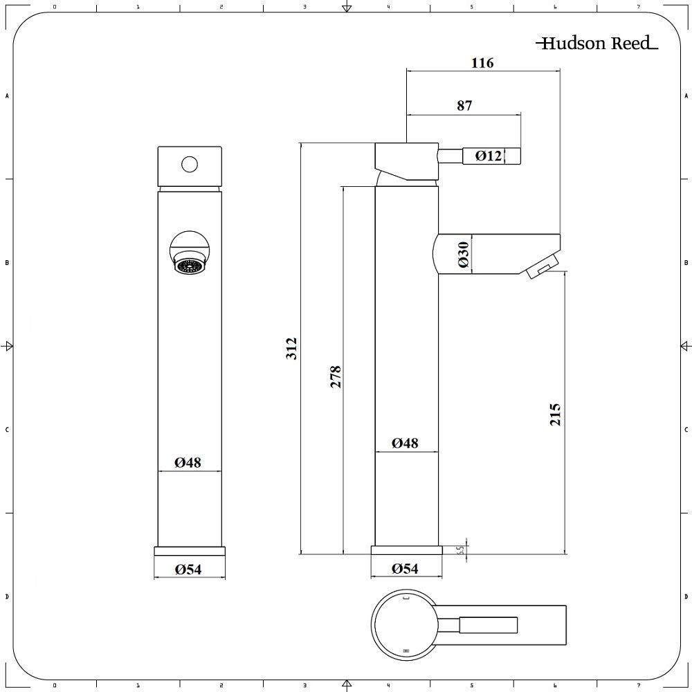 HUDSON REED Robinet Mitigeur Haut pour Lavabo et Vasque avec Bonde Clic-Clac