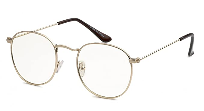 a3ba8e5bdbaf Image Unavailable. Image not available for. Color  Men VINTAGE RETRO Nerd  Style Clear Lens EYE GLASSES Round Gold Frame