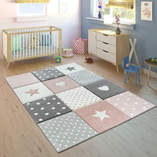 Alfombra Infantil Pastel Cuadros Puntos Corazones Estrellas Blanco Gris Rosa, tamaño:80x150 cm