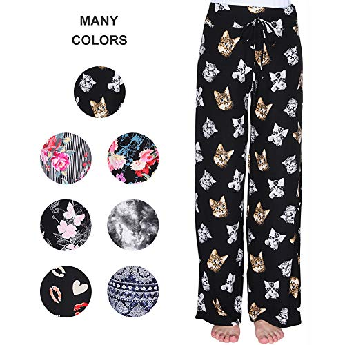 ZOOSIXX Buttery Soft Pajama Pants for Women – Floral Print Drawstring Casual Palazzo Sweatpants Wide Leg for Summer (XL, Kitten)
