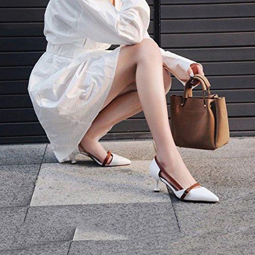 Peu Chaussures Creuses Racines white Cuir Pointues DKFJKI Talon Fines Profonde Chat de de Bouche Couleurs Assortiment Sandales Chaussures nTxwWIqE