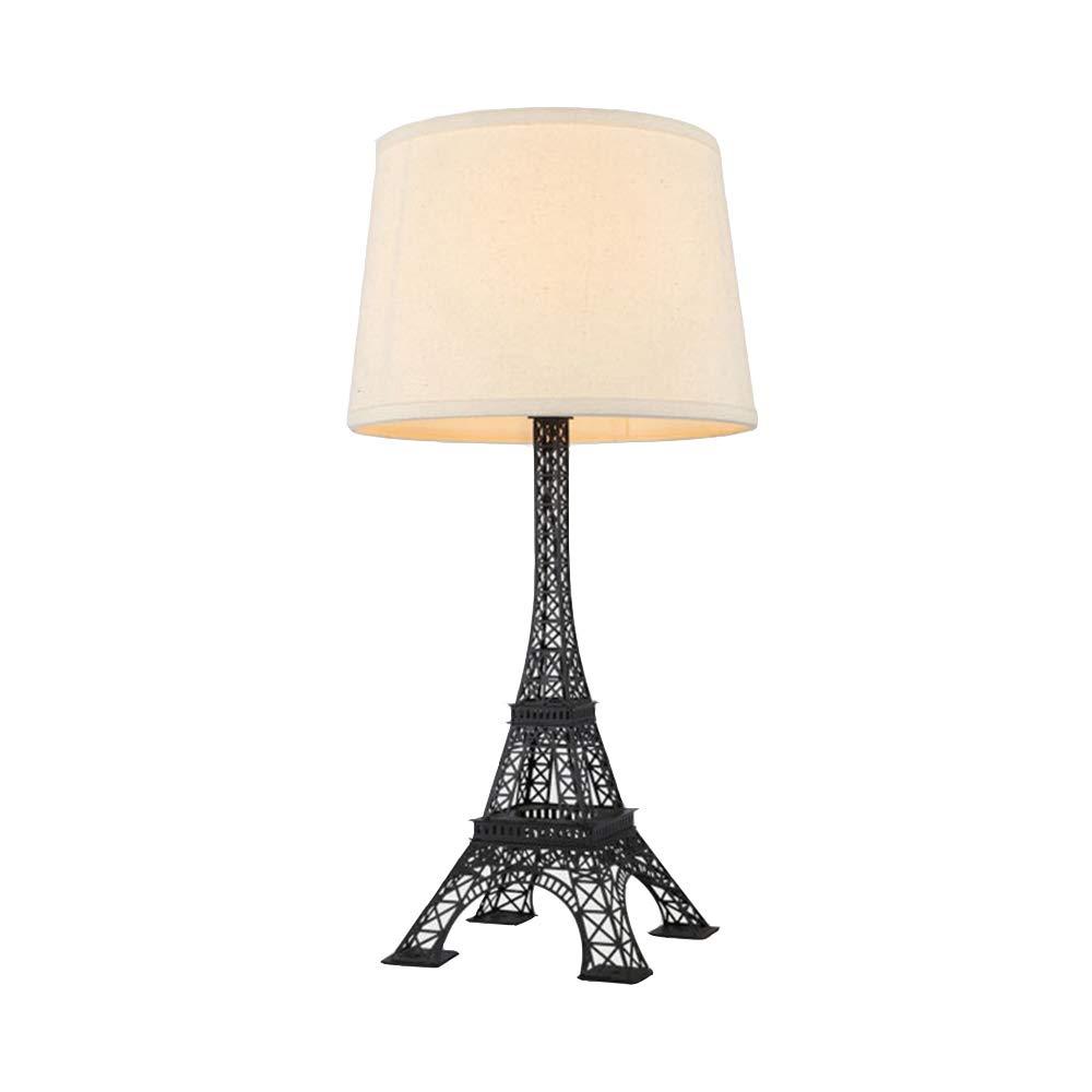 WMI Eiffelturm Tischlampe Schmiedeeisen Lampenhalter Europäischer Stil Moderne Kreativität Kunst Beleuchtung Bar Bekleidungsgeschäft Schlafzimmer Wohnzimmer Nachttischlampe (Φ30 * H60),Matteblack