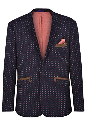 JAMES MORGAN Men's Fully Lined Plaid Fit Blazer, Multicoloured, 40 Navy