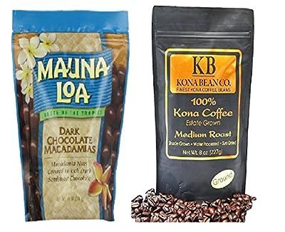 Mauna Loa Macadamia Nuts Dark Chocolate & Kona Bean Co. 100% Kona Coffee - Med. Roast - Ground 8oz Bag