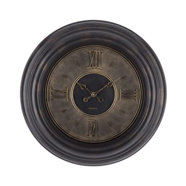 Lana45 Wall Hanging Clock Roman Numerals Plastic Round Gold Dial Elegant Living Room Home Decor 4
