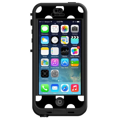 """White Polka Dot on Black """"Protective Decal Skin"""" for LifeProof nuud iPhone 5 Case"""