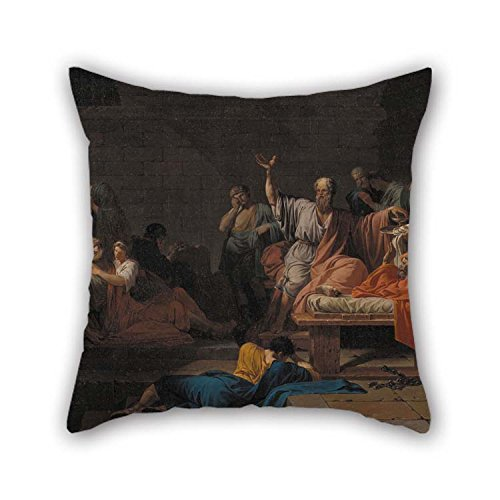 TonyLegner Cushion Cases of Oil Painting Jean Francois Pierre Peyron - The Death of Socrates 16 X 16 Inches / 40 by 40 cm Best Fit for Coffee House Teens Boys Deck Chair Him Bench Gf 2 Sides