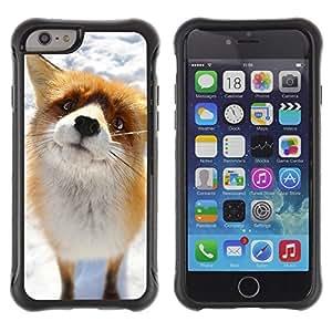 Paccase / Suave TPU GEL Caso Carcasa de Protección Funda para - Cute Arctic Snow Fox Orange Goofy Animal - Apple Iphone 6