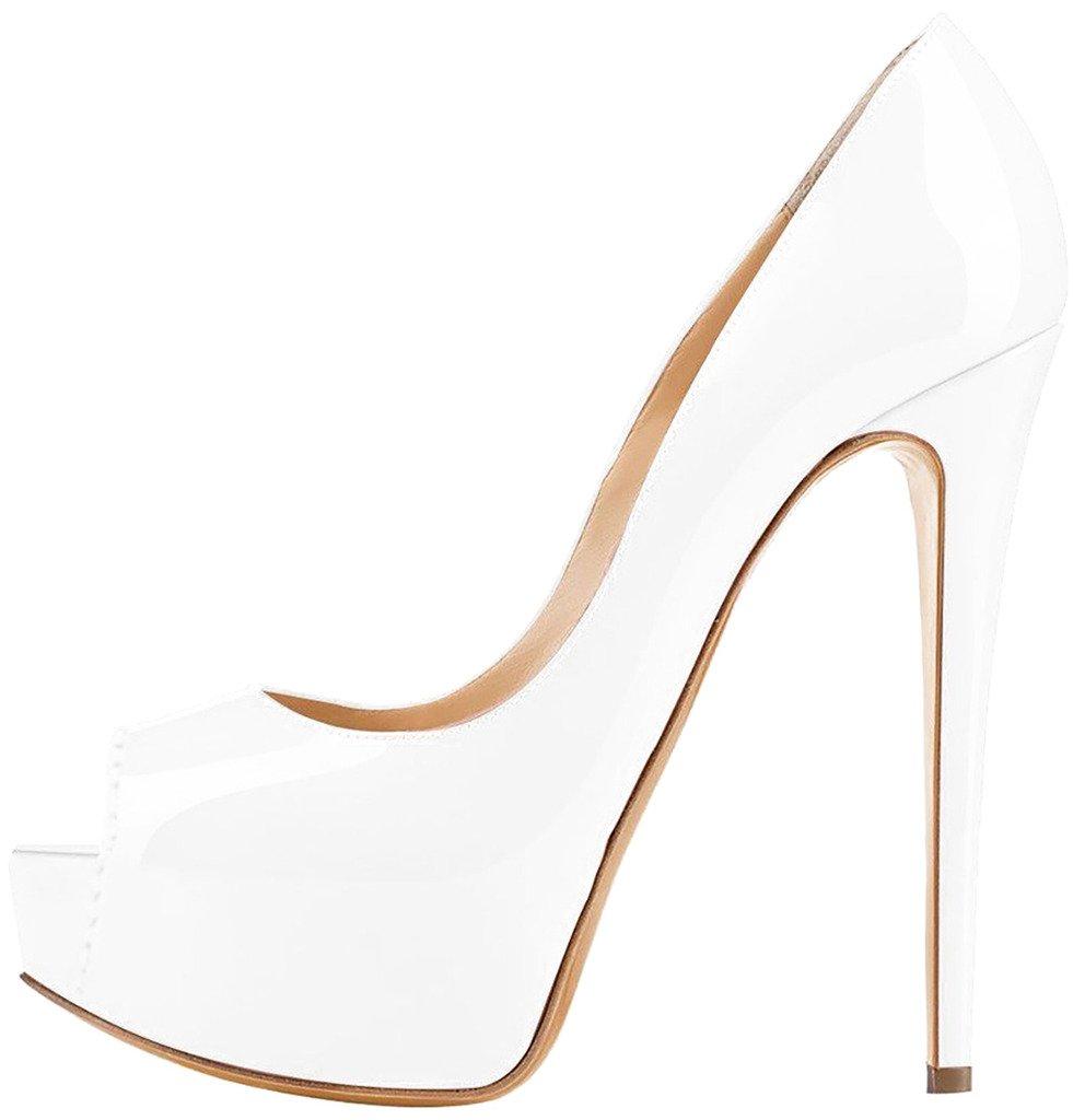 Calaier Mujer Caroad Tacón De Aguja 15CM Sintético Ponerse Sandalias de vestir Zapatos 37.5 EU|Blanco B