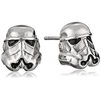 Star Wars Jewelry Unisex 3D Storm Trooper Pendientes de botón de acero inoxidable