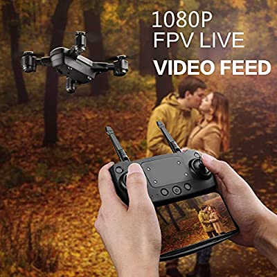 KINGBOT RC Drone, 2.4Ghz Foldable Quadcopter Home Toys WiFi FPV Remote Control Drones with 120°Wide-Angle 5mp 1080P Camera & Altitude Hold Functions: Toys & Games
