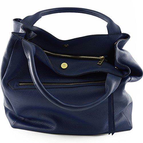 Shopper Donna In Vera Pelle Con Manici Rinforzati Colore Blu - Pelletteria Toscana Made In Italy - Borsa Donna