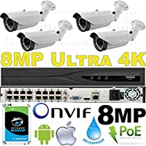 USG Business Grade Ultra 4K 8MP 3840x2160 @ 30FPS 4 Camera HD Security System : Ultra 4K 32 Channel Security NVR + 4x 3.3-12mm 8MP Bullet Cameras + 1x 4TB HDD : Free Phone App