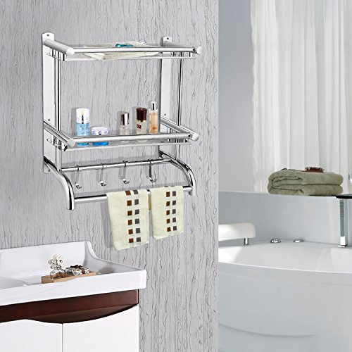 Organizador de toallas de pared de acero inoxidable de 3 niveles con gancho, para colocar sobre la puerta, cocina, baño, estante con gancho: Amazon.es: ...