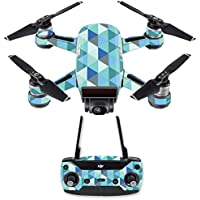 Skin for DJI Spark Mini Drone Combo - Blue Kaleidoscope| MightySkins Protective, Durable, and Unique Vinyl Decal wrap cover | Easy To Apply, Remove, and Change Styles | Made in the USA