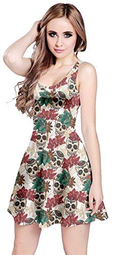 - CowCow Womens Skull with Flowers Sleeveless Dress, Beige - M