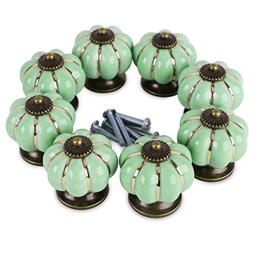 Get Orange 8 pcs Pumpkin Ceramic Door Knobs Drawer Pull Handle Cabinet Cupboard Wardrobe Pull Knobs Handle (green) (Pumpkin Knobs compare prices)