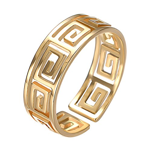 Yoursfs Great Wall Ring 18K Yellow Gold Plated Link Greek Key Maze Pattern Pinky Toe Ring for Party (Greek Toe Key Ring)