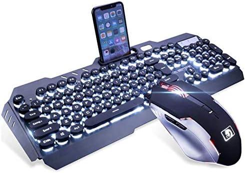 LexonElec Juego de ratón para Videojuegos con Teclado Blanco con Cable y retroiluminado con 104 Teclas ergonómicas USB Multimedia Gamer Teclado Metal ...
