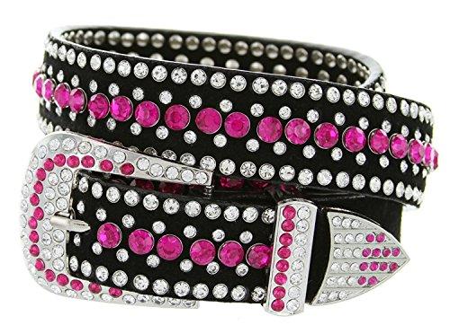 "Ladies Western Rhinestone Bling Cowgirl Belt (Pink, XXL(40""))"