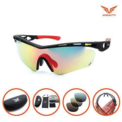 Durable Sports Fashion Sunglasses Superlight for Hiking Fishing Baseball Golf Running Cycling Glasses (Black, Red Revo) Vogatti - Asian Glasses Mens