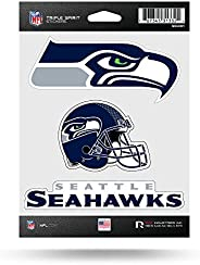 NFL Rico Industries Die Cut 3-Piece Triple Spirit Sticker Sheet, Seattle Seahawks , 5 x 7-inches