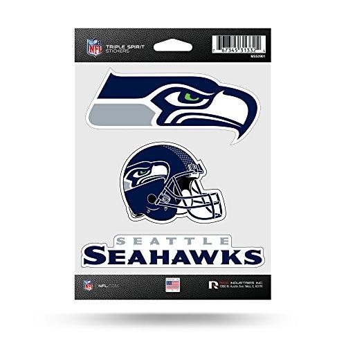 (Rico Industries NFL Seattle Seahawks Die Cut 3-Piece Triple Spirit Sticker Sheet)