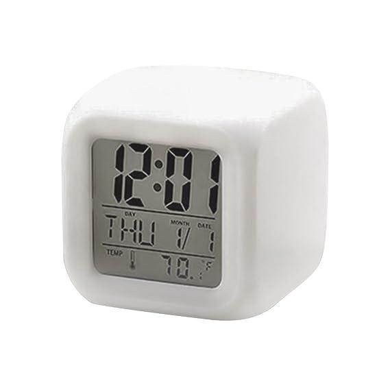 Rosepoem 7 colores de la noche brillante reloj de cubo Reloj despertador digital LED Reloj de