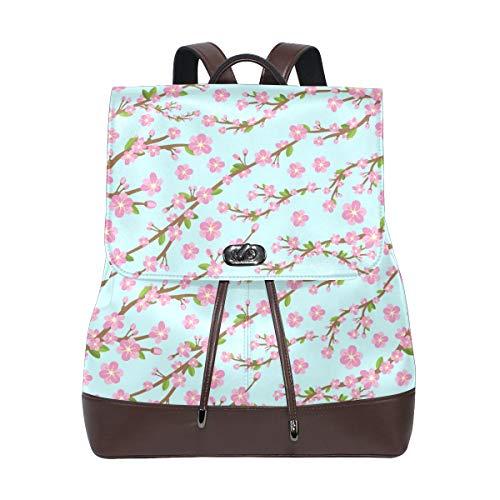 (FAJRO Cherry Blossom Travel Backpack Leather Handbag School Pack)