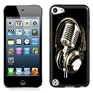 NEW Unique Custom Designed iPod Touch 5 Phone Case With Mic And Headphones_Black Phone Case