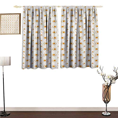 Unpremoon Curtian Egg,Breakfast Food Pattern with Fried Eggs Healthy Protein Omelets Morning Meal,Marigold Peach Cream Blackout Drapes for Bedroom W55 x L45 ()