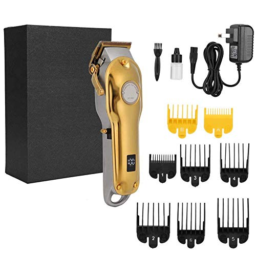 Electric Hair Clipper, Professional Rechargeable Hair Clipper Hair Trimmer Waterproof Hair Cutting Machine Hairdressing Tool US Plug 100-240V(Gold)