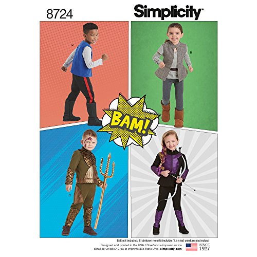 Simplicity US8724A 8724 Children's Superhero Halloween Costume Sewing Pattern, Sizes 3-8]()