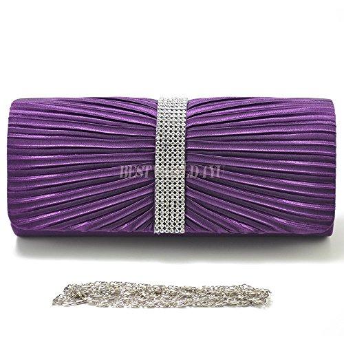 Handbag Bridal TM Clutch Bag Wocharm Wedding Diamante Prom Purple Pleated Ladies Satin Womens 6dwA4