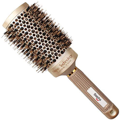 Baasha Extra Large Round Brush 3 Inch, Hair Brush With Boar Bristle, Dry Round Brush for Long Hair, Boar Bristles Round Brush For Blow Drying, Large Ceramic Brushes for Curly ()