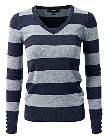 NINEXIS Women's Rayon Knit Sweater w/ Cuff Buttons NAVY/GREY M
