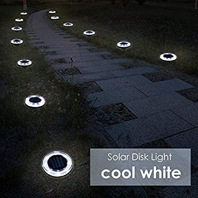 CYBERDAX Solar Disk Lights, Upgrade Outdoor 100LM 8 LED Solar In Ground Lights for Lawn, Garden, Driveway, Pathway (Cool White, 4 Pack)