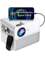 Proyector Native 1080P compatible con 4K, proyector de película TOWOND 2021 para uso al aire libre, 7000LUX portátil de noche para patio trasero con altavoces Bluetooth, compatible con Stick/Laptop/PS5/teléfono blanco