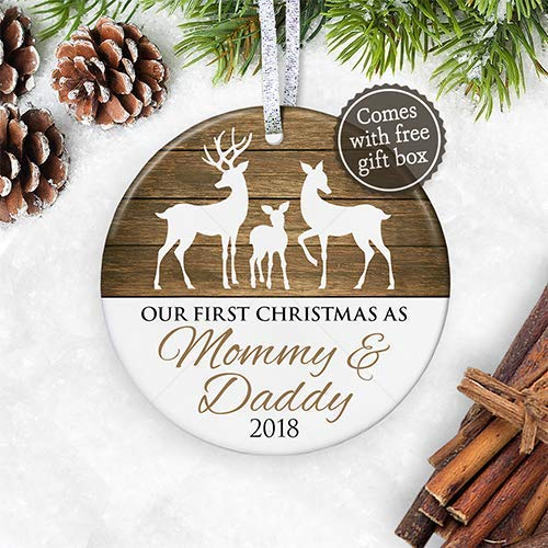 Christmas Gifts For New Parents.1st Christmas As Mommy Daddy 2018 New Parents 2018 Christmas Ornament Deer Family Rustic New Baby Ornament 3 Flat Ceramic Ornament Gold