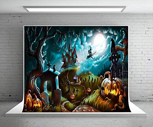 (Kate 7X5ft (220x150cm) Halloween Photography Backdrop Party Photo Booth Backdrop Castle Pumpkin Rip Night Background Children,Adult)