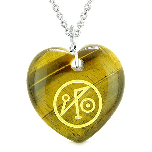 Archangel Michael Sigil Magic Amulet Planet Energy Puffy Heart Tiger Eye Pendant 18 inch Necklace (Designer Style Tiger Eye)