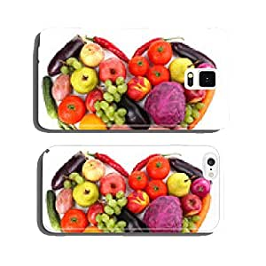Fresh organic vegetables and fruits in shape of heart, isolated cell phone cover case Samsung S5