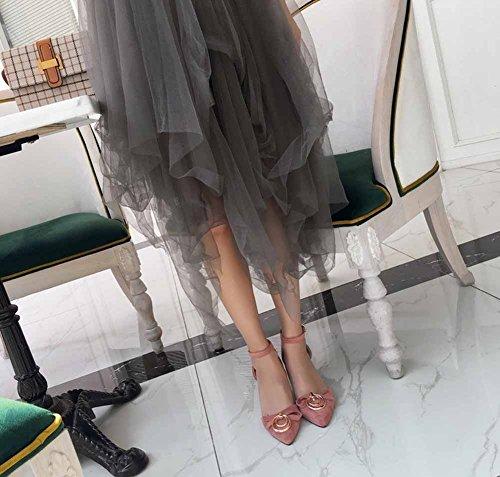 Summer Mujer Tamaño D'orsay Metal Rosado High 43 De Gran Acentuadas 40 Decorativo Heel New Sandalias raxTawPE