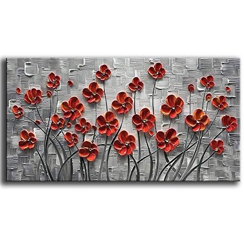 YaSheng Art - Hand Painted 3D Oil Paintings On Canvas Red Flowers Paintings Modern Home Decor Abstract Artwork Canvas Wall Art Paintings,Stretched and Framed Ready to Hang 24x48inch