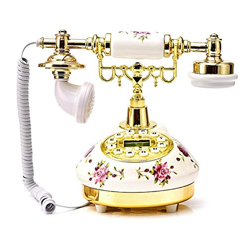 boomprospect Rotary Dial Telephone Retro Old Fashioned Landline Phones Ceramic European Telephone Landline with Electronic Calendar,Clock Caller ID Display for Home Office - Giant Display Caller Id