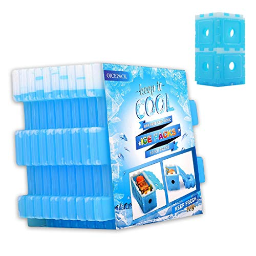 OICEPACK Ice Packs for Coolers, Reusable Freezer Packs for Lunch Box DIY Big Ice Cube Wine Chiller for Food Whiskey Beer Coffee Outdoor Fresh-Care [Set of 10] -