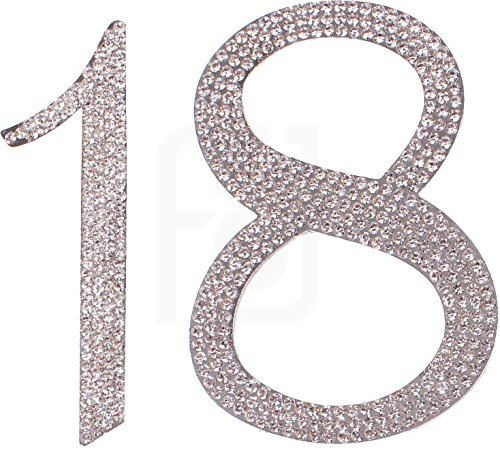 18 , 18th Happy Birthday Cake Topper, Anniversary, Crystal Rhinestones on Silver Metal, Party Decorations, (Happy Ever After Dolls)